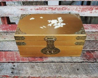Vintage Gold Chinese Jewelry Box with Brass Details and Mother of Pearl Inlay