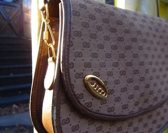 Vintage GUCCI Bag 1970s Brown GG Shoulder Bag w/ Detachable Strap
