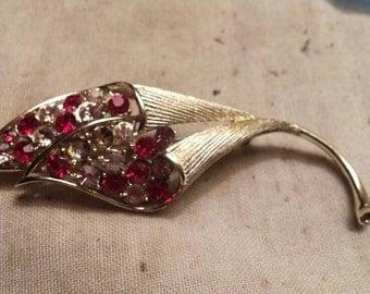 "Vintage Coro Brooch. 3 1/2"" long. Silvertone. Floral looks like Orchid."