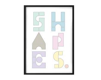 Shapes Nursery print - Nursery poster - Shapes poster - Kids bedroom art - Nursery decor - Children's print - Children's bedroom print