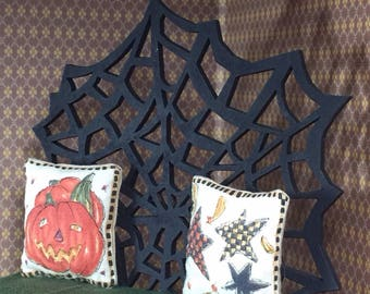 Black Spider Web Bed in One Inch Scale for a Dollhouse