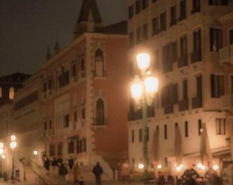 Venice, Italy, Evening Pink Lanterns, Night Lights in Venice, Full Moon in Venice, Venice Photography