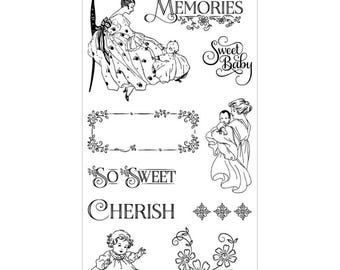 Graphic 45 PRECIOUS MEMORIES 1 Cling Stamps IC0329S cc72