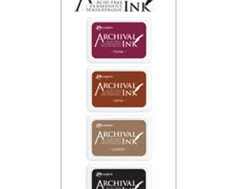 Mini Archival Ink Pad KIT 2 PLUM, SEPIa, COffEE, Jet BLACK AIMK57680 1.cc55