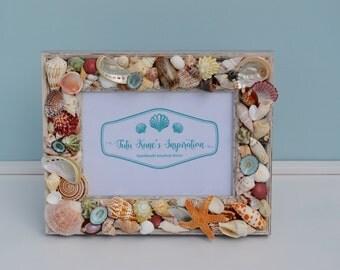 Beach Decor, Beach Wedding Gift, Beach Picture Frame, Seashell Frames, Nautical Picture Frame, Coastal Decor, Beach Wedding, Nautical Decor