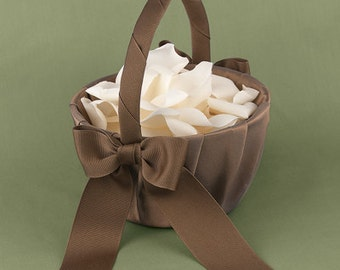 Mocha Latte Brown Wedding Flower Girl Basket