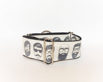 Hipster martingale collar (dog collar, greyhound martingale fun men moustache glasses beard modern cream linen cotton)