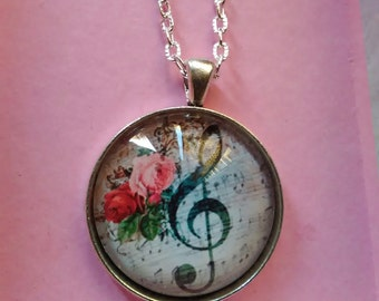 ttreble clef kawaii cosplay musical note pendant necklace