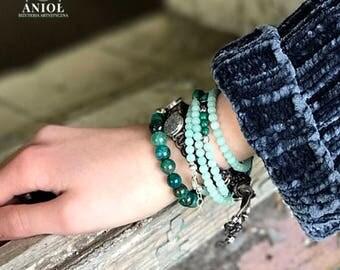 BOHO CHIC - Etno - Tribal Jewelry, 100% Sterling Silver Bracelet - Set of the 3 Bracelets - Natural Leather Bracelet