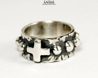 ROSARY RING, Rosarium Cross 100% Sterling Silver RING - Womens Jewelry