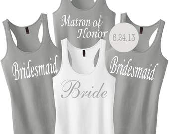 Custom Bridesmaid Tanks.Custom Bride Tank Shirt.Bridesmaid Shirts.Custom Bachelorette Shirts.Bride Tank Top.Wedding Shirts.Bridesmaid Gift