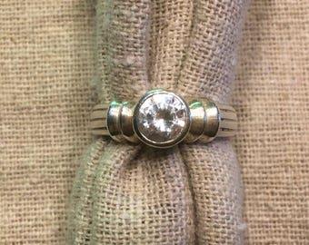 Sterling Silver 1ct CZ Bezel Set Ring--Sz 6-3/4