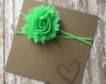 Lime Green MINI Shabby Flower Headband