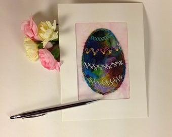 Hand Embroidered Easter Egg Card, Batik Easter Egg Card, Fibre Art Greeting Card, Handmade Fabric Easter Card, Applique Easter Card