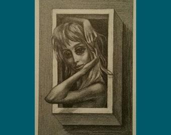 Woman in a box vintage Margaret Keane post card San Francisco.