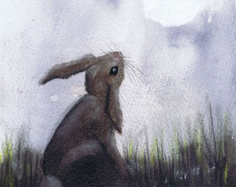 MOONGAZING HARE h3034  -  Size A4 - printed on extremely good quality textured paper