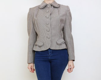 Vintage 1940s Jacket / Double Collar and Pocket detail / Shoulder Pads / Size S Small