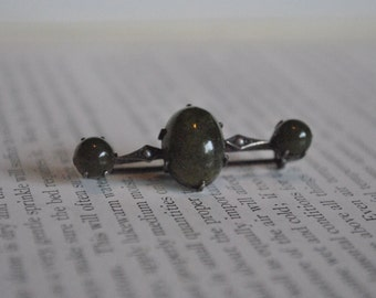 Antique Moss Agate 850 Silver Pin - 1800s Victorian Stone Brooch