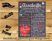 First Birthday Chalkboard sign girl 1st birthday heart chalk board photo prop customized first birthday poster digital file or printed