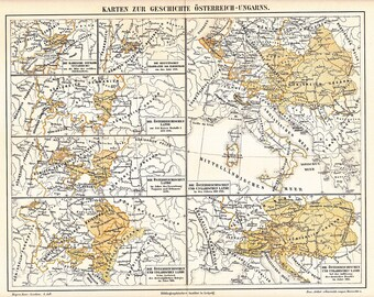 1891 Austria-Hungary, Territorial Developments of the Austrian Empire and the Hungarian Kingdom from the 8th Century Original Antique Map