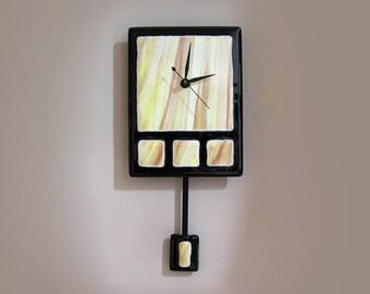 Fused Glass Pendulum Wall Clock - Butterscotch Dreams