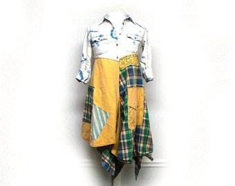 S/M Long Boho Denim Jacket, Dress, Distressed Hippie Funky Artsy Eco Earth Friendly, Upcycled Women's Festival Clothing by Primitive Fringe