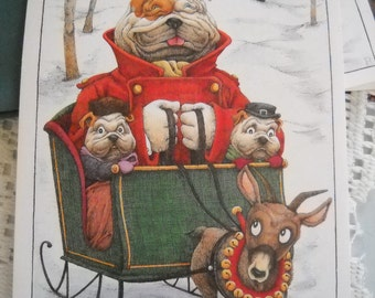 Bulldogs in a Christmas Sleigh - Vintage Cards (3)- Suitable for framing.