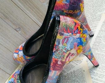 Custom Comic Book Heels Comic Book Shoes Comic Heels Comic Shoes Graffiti Heels Comic Book Wedding Heels Comic Con Heels Geek Heel Geek Chic