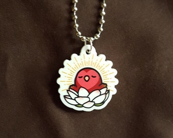 "Chubby Enlightened Cody the Lovebird 1"" Pendant and Stainless Steel Ball Chain Necklace"