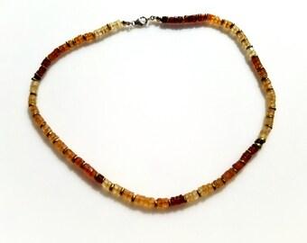 Heishi Hessonite Gemstone Necklace Golden Brown Gem Necklace Boho Hessonite Jewelry Festival Style Jewelry Hessonite Necklace Serpent Style