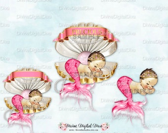 Mermaid Baby Girl Sleeping in Clam Shell Pink & Gold Tiara Tail Pearls | Princess Vintage Baby Caucasian | Clipart Instant Download