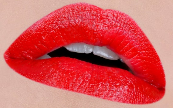 The PERFECT Red- MAC Ruby Woo inspired- Lipstick and Liner or Sample. Vegan friendly.