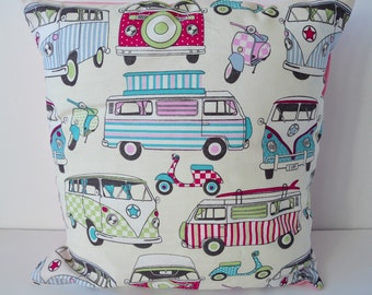 Pink and Blue Camper Vans Envelope Back Cushion