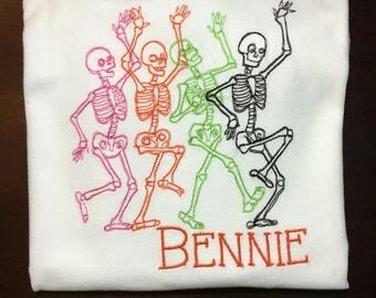 Personalized Dancing Skeleton Halloween Shirt, Onesie, Romper or Dress