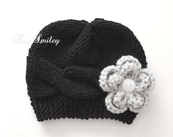 Newborn Girl Hat, Knit Baby Girl Hat, Black Knit Baby Girl Hat, Flower Knit Baby Hat, Cable Baby Hat, Baby Girl Outfit, Hats for Baby Girl