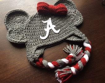 Alabama Crochet Elephant Hat, Crimsom Tide Hat