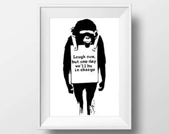 Banksy banksy laugh now, graffiti and urban art by Banksy poster print