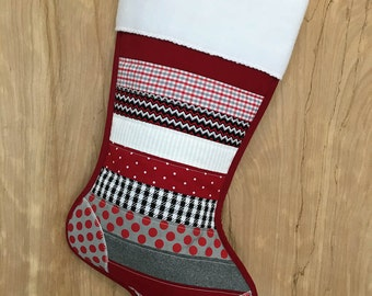 Personalized Alabama Christmas Stocking, Black & White Houndstooth, Crimson White and Grey Patchwork, School Colors, Football Fan Gift