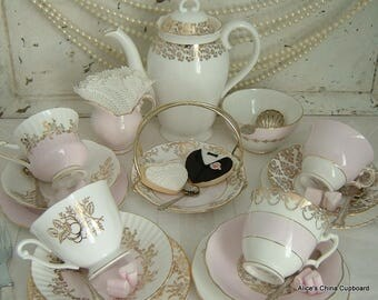 Pretty Vintage MisMatched Tea Set for 4 Lovely Pink/White and Gold a Lovely Tea Set for a Wedding/Bridal Shower