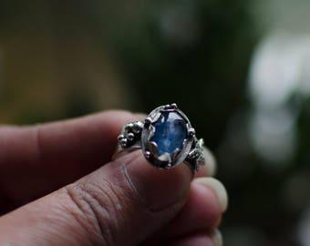 massive silver ring, kyanite, sea, blue, nature, Star