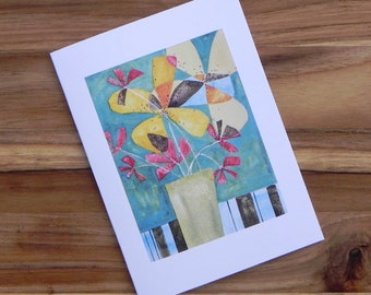 Flowers on Aqua with stripes, Eight blank notecards and envelopes