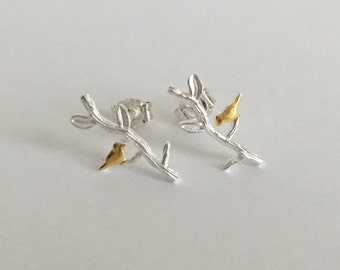 Sterling Silver Bird Studs. Tiny Tree Studs. Bird on Branch Earrings. Gold Bird Studs. Small Branch Studs. Gift for Her. Everyday Studs.