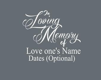 Loving Memory Car decal, Cancer ribbon memory decal, In Loving Memory car decals