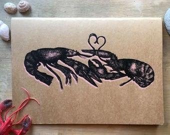 Hand screen printed A4 sketchbook Lobster Design