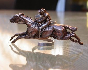 French antique sterling silver horse  ring large ring 6 Vintage repousse horse ring copper size 6