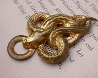 French antique Bronze gold gilt Belt Buckle engraved snake bronze old buckle  bronze  button