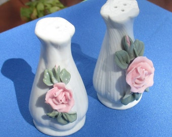 Retro Porcelain Pink Rose Salt & Pepper Set