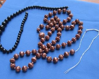 Lot Of Retro Black & Brown Beaded Necklaces Restring Repair