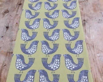 table runner, scandi table runner, green and grey bird table runner, scandinavian fabric
