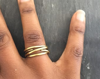 Brass Statement Ring, Unique Brass Ring, Brass Wire Ring, Contemporary Ring, Handmade Brass Ring, Modern Design Ring, Unisex Ring